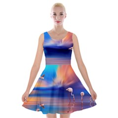 Flamingo Lake Birds In Flight Sunset Orange Sky Red Clouds Reflection In Lake Water Art Velvet Skater Dress