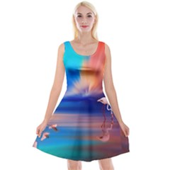 Flamingo Lake Birds In Flight Sunset Orange Sky Red Clouds Reflection In Lake Water Art Reversible Velvet Sleeveless Dress