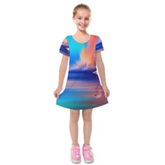 Flamingo Lake Birds In Flight Sunset Orange Sky Red Clouds Reflection In Lake Water Art Kids  Short Sleeve Velvet Dress