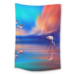 Flamingo Lake Birds In Flight Sunset Orange Sky Red Clouds Reflection In Lake Water Art Large Tapestry