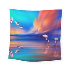Flamingo Lake Birds In Flight Sunset Orange Sky Red Clouds Reflection In Lake Water Art Square Tapestry (Small)