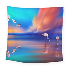Flamingo Lake Birds In Flight Sunset Orange Sky Red Clouds Reflection In Lake Water Art Square Tapestry (large)