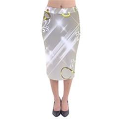 Floral Delight Velvet Midi Pencil Skirt
