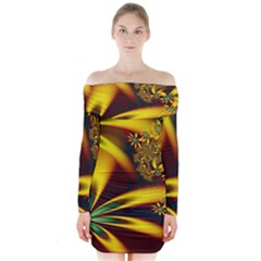 Floral Design Computer Digital Art Design Illustration Long Sleeve Off Shoulder Dress