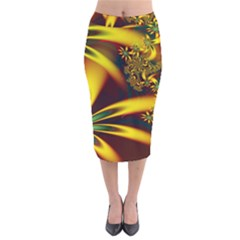 Floral Design Computer Digital Art Design Illustration Velvet Midi Pencil Skirt