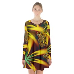 Floral Design Computer Digital Art Design Illustration Long Sleeve Velvet V Neck Dress