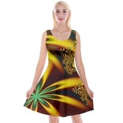 Floral Design Computer Digital Art Design Illustration Reversible Velvet Sleeveless Dress