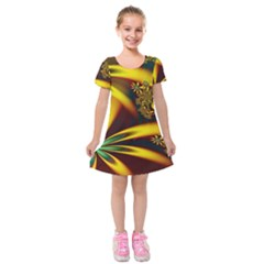 Floral Design Computer Digital Art Design Illustration Kids  Short Sleeve Velvet Dress