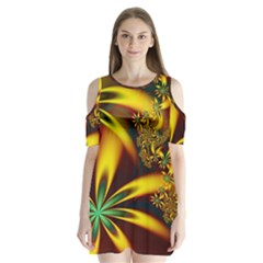 Floral Design Computer Digital Art Design Illustration Shoulder Cutout Velvet  One Piece