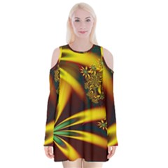 Floral Design Computer Digital Art Design Illustration Velvet Long Sleeve Shoulder Cutout Dress