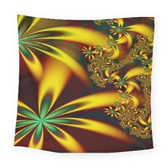 Floral Design Computer Digital Art Design Illustration Square Tapestry (large)