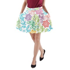 Texture Flowers Floral Seamless A-Line Pocket Skirt