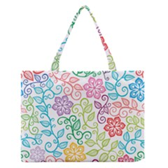 Texture Flowers Floral Seamless Medium Zipper Tote Bag