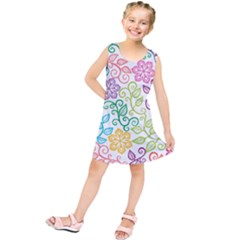 Texture Flowers Floral Seamless Kids  Tunic Dress