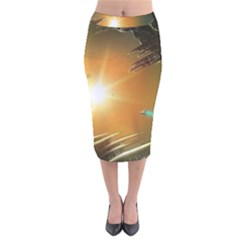 Future City Velvet Midi Pencil Skirt