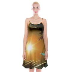 Future City Spaghetti Strap Velvet Dress