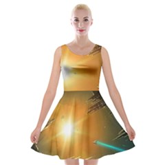 Future City Velvet Skater Dress