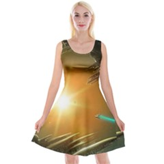Future City Reversible Velvet Sleeveless Dress