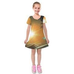 Future City Kids  Short Sleeve Velvet Dress