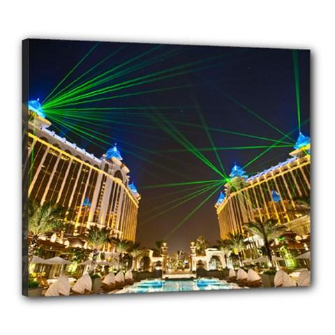 Galaxy Hotel Macau Cotai Laser Beams At Night Canvas 24  X 20