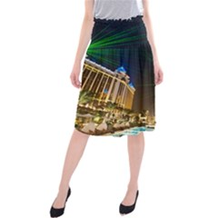 Galaxy Hotel Macau Cotai Laser Beams At Night Midi Beach Skirt