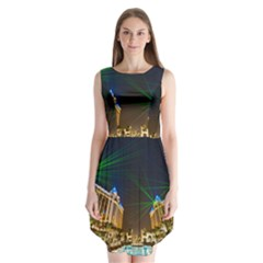 Galaxy Hotel Macau Cotai Laser Beams At Night Sleeveless Chiffon Dress