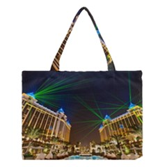 Galaxy Hotel Macau Cotai Laser Beams At Night Medium Tote Bag