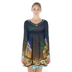 Galaxy Hotel Macau Cotai Laser Beams At Night Long Sleeve Velvet V Neck Dress