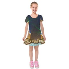 Galaxy Hotel Macau Cotai Laser Beams At Night Kids  Short Sleeve Velvet Dress