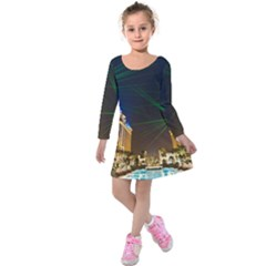 Galaxy Hotel Macau Cotai Laser Beams At Night Kids  Long Sleeve Velvet Dress