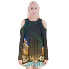 Galaxy Hotel Macau Cotai Laser Beams At Night Velvet Long Sleeve Shoulder Cutout Dress