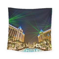 Galaxy Hotel Macau Cotai Laser Beams At Night Square Tapestry (Small)