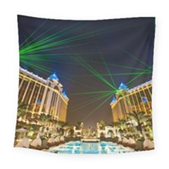 Galaxy Hotel Macau Cotai Laser Beams At Night Square Tapestry (large)