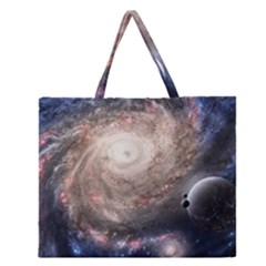 Galaxy Star Planet Zipper Large Tote Bag