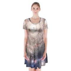 Galaxy Star Planet Short Sleeve V-neck Flare Dress