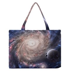 Galaxy Star Planet Medium Zipper Tote Bag