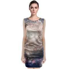 Galaxy Star Planet Sleeveless Velvet Midi Dress