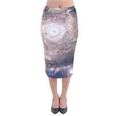 Galaxy Star Planet Velvet Midi Pencil Skirt