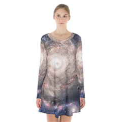 Galaxy Star Planet Long Sleeve Velvet V Neck Dress