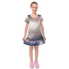Galaxy Star Planet Kids  Short Sleeve Velvet Dress