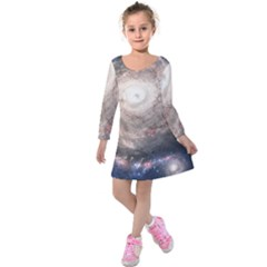 Galaxy Star Planet Kids  Long Sleeve Velvet Dress