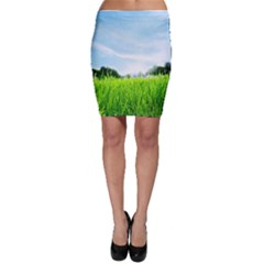 Green Landscape Green Grass Close Up Blue Sky And White Clouds Bodycon Skirt