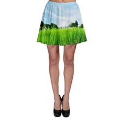 Green Landscape Green Grass Close Up Blue Sky And White Clouds Skater Skirt