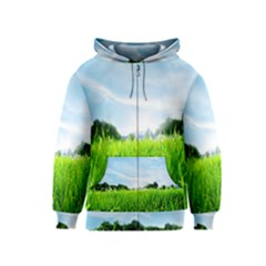 Green Landscape Green Grass Close Up Blue Sky And White Clouds Kids  Zipper Hoodie