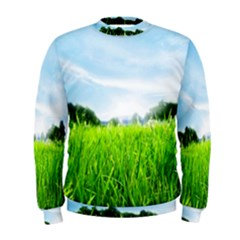 Green Landscape Green Grass Close Up Blue Sky And White Clouds Men s Sweatshirt