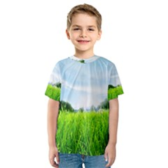 Green Landscape Green Grass Close Up Blue Sky And White Clouds Kids  Sport Mesh Tee