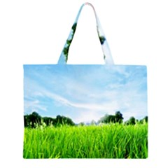 Green Landscape Green Grass Close Up Blue Sky And White Clouds Large Tote Bag