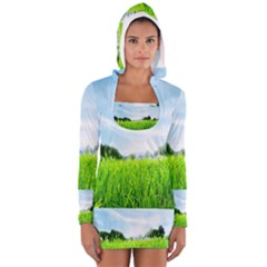 Green Landscape Green Grass Close Up Blue Sky And White Clouds Women s Long Sleeve Hooded T-shirt