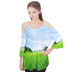 Green Landscape Green Grass Close Up Blue Sky And White Clouds Flutter Tees