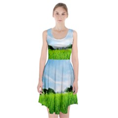 Green Landscape Green Grass Close Up Blue Sky And White Clouds Racerback Midi Dress